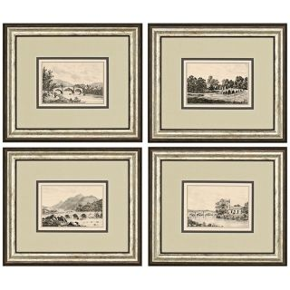 Set of 4 Idyllic Bridges Framed Prints Wall Art   #J3865