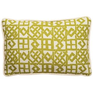 "Modern Lattice Green and Natural 17"" Wide Lumbar Pillow   #T6205"
