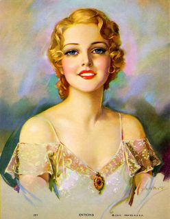 Jules Erbit 1940s Enticing Pin Up Print Blonde Good Girl Smiling