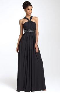 JS Boutique Cutaway Shoulder Beaded Chiffon Gown 4 $168 00