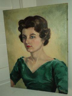 Vintage Portrait Woman 1960s Brown Hair Blue Eyes Mid Century