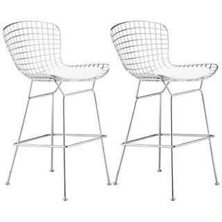 Set of 2 Zuo Wire Chrome Finish Bar Chairs  Frame only   #T7596