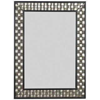 "Woven Silver 38"" High Wall Mirror   #T5024"