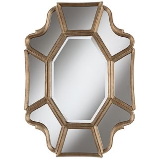 "Scalloped 35"" High Champagne Wall Mirror   #W4072"