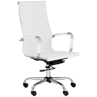 Serge White Leather High Back Swivel Office Chair   #M5401