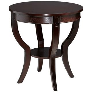Round Espresso Round Wood End Table   #T0430