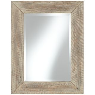 "Bay Point 35 1/2"" High Whitewashed Wood Wall Mirror   #X5888"