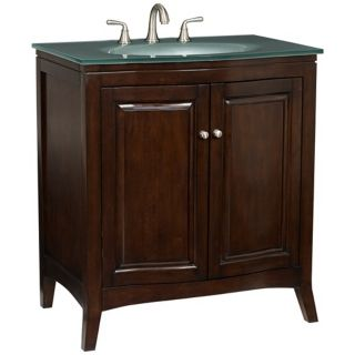 Espresso Wood with Glass Top Bathroom Vanity Sink   #V2185