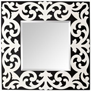 "Murray Feiss Pauline 36"" High Black and White Wall Mirror   #X2645"