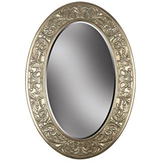 "Champagne Silver Oval 40"" High Wall Mirror   #T5039"