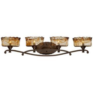 """Bronze Art Glass 4 Light 36"""" Wide Bath Light Fixture   #U8182"""