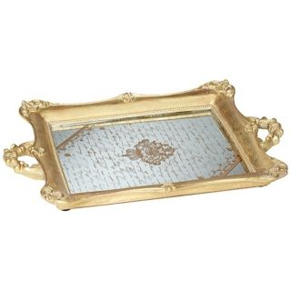 Resin construction. Antique gold finish. Mirrored with crown and