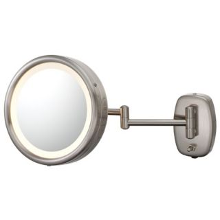 Brushed Nickel Plug In Swing Arm Lighted Vanity Mirror   #99406