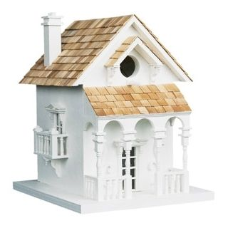 Cozy White Cottage Bird House   #H9557