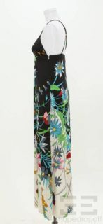 Julie Brown Black Multicolor Print Silk Maxi Dress Size S