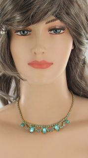 Vintage Gold Tone Juliana Turquoise Rhinestone Necklace