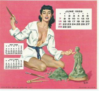 1959 June Esquire Calendar Page Sculpture of A Man