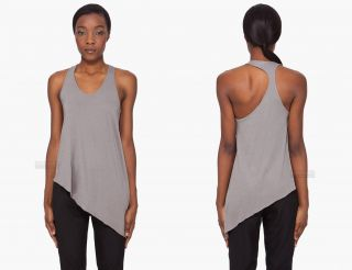 New 125$ Helmut Lang Feather Jersey Asymmetric Tank Top Grey XS P