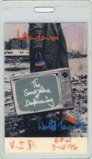 Julian Lennon 1986 VIP Laminated Backstage Pass