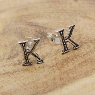 Cute Initial Letter K 925 Silver Stud Earrings