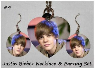Justin Bieber Photo Charm Necklace Earring Set 9