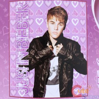 Justin Bieber Fleece Throw Blanket 50 x 60 JB of Hearts Pink Purple
