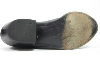 Justin Black Leather Mid Calf Cowboy Boots Sz 6 5
