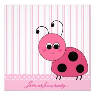 Pink Ladybug Party Invitation