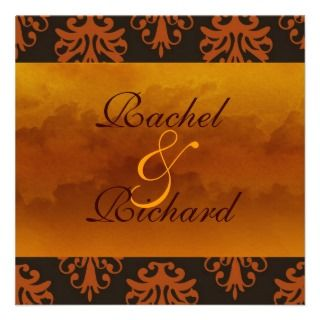 Autumn /Fall DAMASK CLASSIC Wedding INVITATION