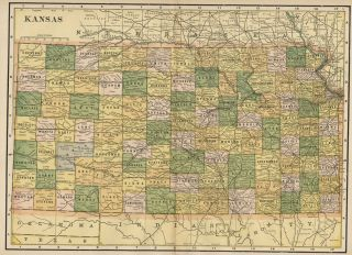Kansas Authentic 1889 Map Showing Counties Cities Topography Railroads