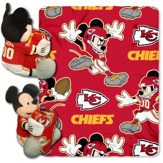 Kansas City Chiefs NFL Disney Mickey Mouse Plush Hugger w Fleece Throw