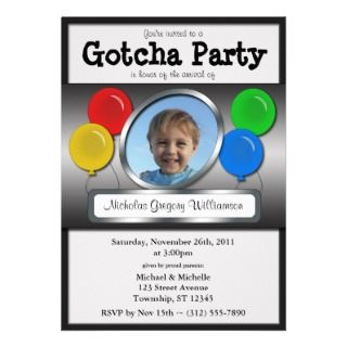 Gotcha Party Balloon Adoption Invitations