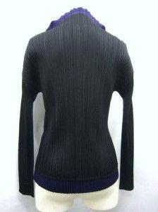 Issey Miyake Pleats Please Jacket Shirt Blouse Top 3 M Purple Black