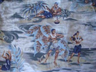 Kalaheo Aloha Shirt Small Hawaiian Fisherman and Hula Dancer Cotton