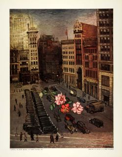 1939 Print Union Square Roses Kantor New York City Automobile Farewell