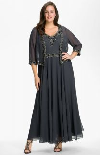 318 22W J Kara Beaded Chiffon Gown Jacket Mother of The Bride