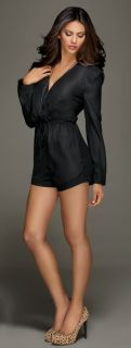 Kardashian Kollection Black Long Sleeve Romper Sz S