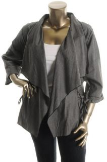 Karen Kane New Gray Tie Pockets Drapey Open Front Cardigan Top Jacket
