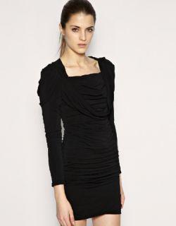 Karen Millen Black Long Sleeve Draped Jersey Party Dress 8 36 £165