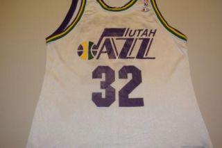 Vintage Karl Malone Utah Jazz White Jersey Size 46