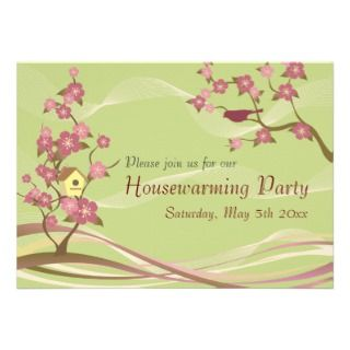 Bird House Housewarming Party Inviation Green Custom Invites