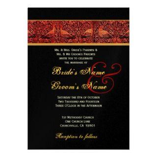 Red Black Gold Vintage Birds Wedding Custom Invites