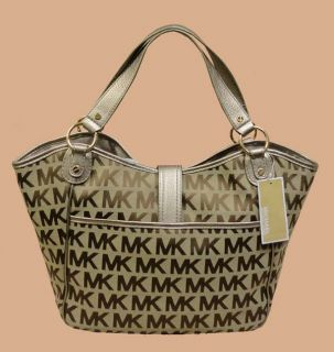 AUTHENTIC MICHAEL KORS KARLTON JACQUARD BROWN /KHAKI LARGE TOTE BAG