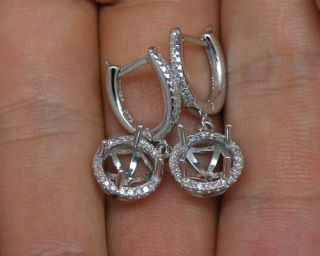 Round 7mm 14kt White Gold Diamond Semi Mount Earrings
