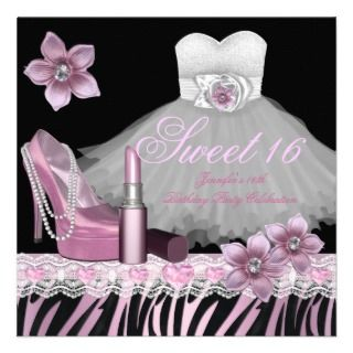 Zebra Pink Black Sweet Sixteen 16 Dress Lipstick Announcements