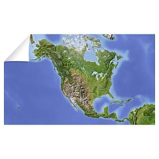 Wall Art  Wall Decals  Relief Map of North America