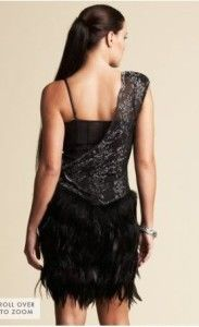BEBE Kardashians Black Asymmetric Feather Dress XS NWT