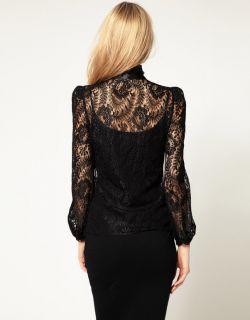 Karen Millen Black Intricate Lace Bardot Fitted Blouse Shirt Top 6 34