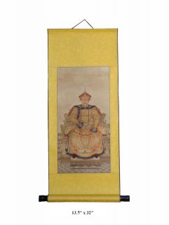 Chinese Hand Painted Emperor Kang XI His Wife Portrait Hanging Decor