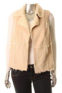 Karen Kane New Sapphire Sky Ivory Faux Fur Outerwear Vest Plus 2X BHFO